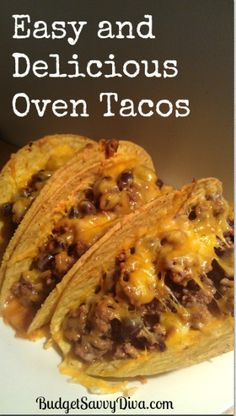 Looking for some Mexican food one night? These gluten free tacos are pretty straight forward and pop right in the oven! Follow this link for the official recipe: http://www.budgetsavvydiva.com/2013/03/oven-tacos-recipe/