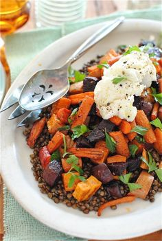 Roasted Root Vegetables with Lentils and Ricotta!