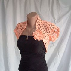 Wedding Lightsalmon Shrug Bolero ,Crochet Lace Bridal Shrug Bolero