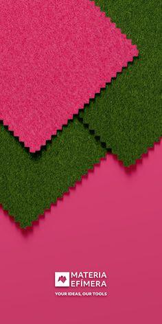 Combinación de moqueta ferial color verde hoja con fucsia para stands, ferias, congresos y eventos. #Your