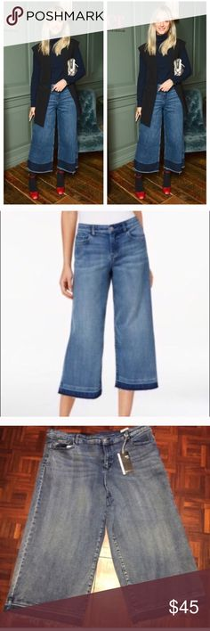 Style & Co Culotte Cropped Jeans Pants Size 12 Style & Co Culotte Cropped Jeans Pants Size 12 -brand new with tags, mid rise, hint of stretch with Frayed bottoms ✨ Style & Co Jeans Ankle & Cropped