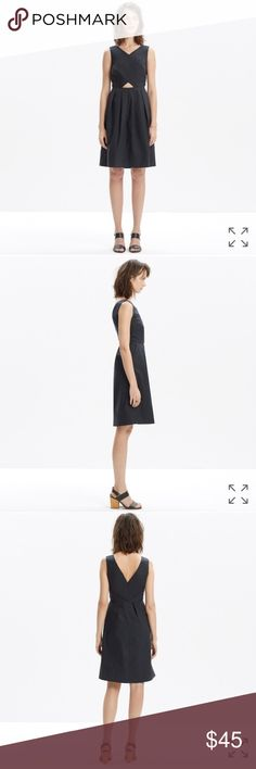 "madewell cutout sundress NWT   PRODUCT DETAILS This cross-front dress has a perfectly placed waist cutout for a subtle flash of skin. Made of crisp cotton poplin, it's a definite day or night deal.    Waisted. Falls 38 1/8"" from shoulder. Cotton. Madewell Dresses"