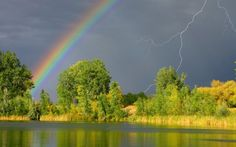 Rainbow and lightning on the dark sky - Free Image Download - High Resolution Wallpaper