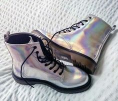 holographic boots indie drmartens silver grunge shoes metallic punk goth punky rockstar rock cool shiny