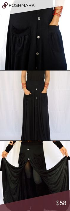 NWT Vegan made Maxi Skirt in Black with Pockets NEW Ultra comfy, pull on styling with front buttons for versatility. Front pockets. Eco fashion 🌎. Made in the USA from super soft, lightweight, vegan material making it an ethical choice. Material has stretch. Great for spring, summer or layered with tights and boots for fall. South Castles Skirts Maxi