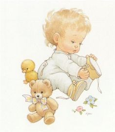 Baby with teddy Illustration by Ruth Morehead Baby Images, Cute Images, Baby Pictures, Cute Pictures, Illustration Mignonne, Boy Illustration, Illustrations, Images Vintage, Cute Clipart
