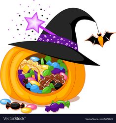 Buy Halloween Pumpkin by Platinka on GraphicRiver. Halloween pumpkin with witch hat and sweets, EPS JPG (high resolution) Vintage Halloween Images, Halloween Vector, Halloween Cat, Halloween Pumpkins, Giraffe Toy, Little Giraffe, Rabbit In A Hat, Easter Bunny Colouring, Mermaid Vector