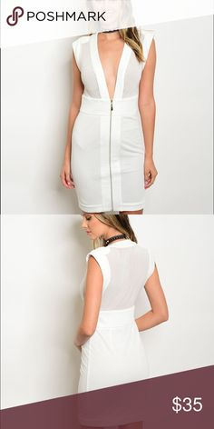 """White Stacy Zip Dress Brand New 