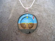 Attitude Indicator - Glass Pendant Necklace - Aircraft Instrument Jewelry - PRE-ORDER