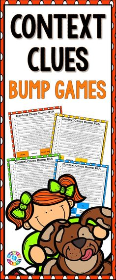 Context Clues Bump Games contains 12 different context clues games to help students practice determining the meaning of words in context. These context clues bump games are differentiated into 4 different levels (with 3 games per level) so that all of your students can play the games! https://www.teacherspayteachers.com/Product/Context-Clues-2029997