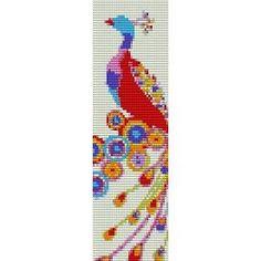 Peacock - beading cuff bracelet pattern for peyote or loom