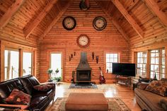 Family Room in Log Home Listed