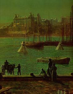 "Scarborough Bay, John Atkinson was a Victorian-era artist, a ""remarkable and imaginative painter""known for his city night-scenes and landscapes. Landscape Paintings, Fine Art, Atkinson Grimshaw, Irish Painters, Victorian Art, Painting, European Paintings, Environmental Art, Art And Architecture"