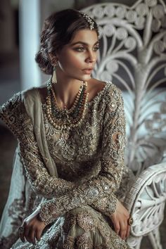 Elan Pakistani couture by sadie Pakistani Wedding Dresses, Pakistani Bridal, Pakistani Outfits, Indian Dresses, Indian Outfits, Bridal Dresses, Pakistani Hair, Indian Lengha, Indian Clothes
