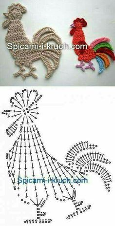 Crochet Doily Patterns 83343 I just saw these little flat animals very easy to make and which can decorate your creations: sweaters, blanket, baby nest…. draw and crochet! Crochet Birds, Easter Crochet, Thread Crochet, Cute Crochet, Irish Crochet, Crochet Flowers, Crochet Stitches, Crocheted Animals, Appliques Au Crochet