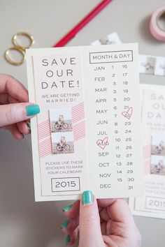 ▷ ideas on how to make your own wedding ▷ 1001 + Ideen, wie Sie Hochzeitseinladungen selber basteln Create your own invitation cards, save the date, tinker with washi tapes, ideas for weddings - Diy Save The Dates, Wedding Save The Dates, Save The Date Cards, Save The Date Ideas Diy, Date Ideas For New Couples, Couple Ideas, Make Your Own Invitations, Save The Date Invitations, Invites