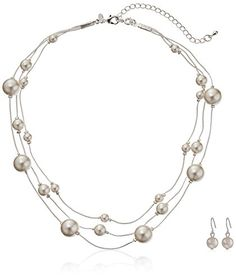 "Cream Simulated Pearl Illusion Chain Earrings and Necklace Set, 16"" +3"" Extender Amazon Collection http://www.amazon.com/dp/B007EEXX2W/ref=cm_sw_r_pi_dp_jbXfwb11683Q2"