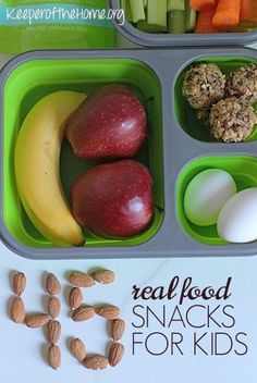 Real food snacks for kids are most definitely better than the processed and packages products at the supermarket. Here's 45 great snack ideas to get you and your family on the right track to eating well without being hungry!