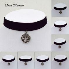 Velvet Ribbon With Pendant Twelve Constellations Black Velvet Choker Necklace B&M Necklaces And Chokers 2015 Gothic Choker