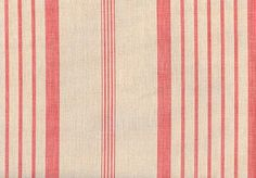 Pink Ticking Linen Fabric Printed pink ticking stripe on light beige linen