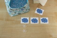 Counting Coconuts:   Skip counting-add snowflake beads under each cloud