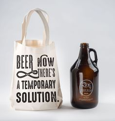 Beer- now there's a temporary solution! If only there were a way to carry my full growler home to consume said solution......... Made in the USA, these bags are 100% natural cotton. Growlers are one o