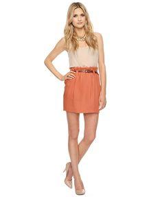 Paper Bag Waist Skirt w/ Belt | LOVE21