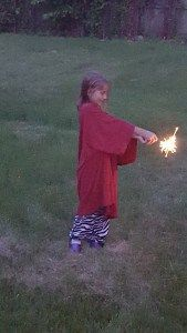 Camp Fire Lady Went to Town / Skipah's Realm / Sloane, the trendsetter burning sparklers