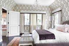 leaf wallpaper designed by Katie Ridder, room design by Betsy Burnham