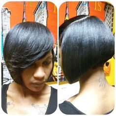 Top 21 Best Bob Hairstyles for Black Women # 2019 hair - Black Haircut Styles Best Bob Haircuts, Asymmetrical Bob Haircuts, Bob Hairstyles With Bangs, Popular Haircuts, Short Hairstyles For Women, Hairstyles Haircuts, Cool Hairstyles, Black Hairstyles, Black Haircut Styles