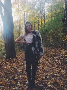 Herbst, Outfit, Look, Rock, Leder, Fake Fur, Herbst Outfit, Walb, Laub, Leben, Macarons, Liebe, Offfice Style, Sophie Zunder