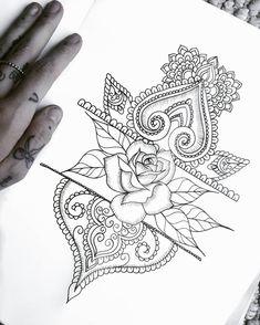 #rose #drawing #pattern #tattoo #flowers #botanical #mandala #mehndi #henna #paisley #doodle #linework #girly #fineliner