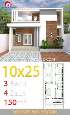 House Design Plans with 3 bedrooms - House Plans Bungalow House Design, Bungalow House Plans, House Front Design, Small House Design, Modern House Design, Pool House Plans, Small House Plans, Small Modern House Plans, Indian House Plans