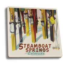 Steamboat Springs, Colorado - Colorful Skis - Lantern Press Artwork