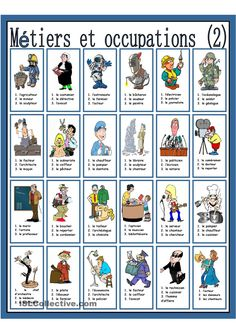 Métiers et occupations French Language Lessons, French Lessons, English Lessons, Teaching French, Teaching English, French Flashcards, French Worksheets, Occupation, Teaching