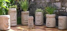 These planters are made from Hypertufa, an easily-DIY'd concrete hybrid. Love this cheeky planter idea! Diy Concrete Planters, Concrete Crafts, Concrete Garden, Concrete Projects, Garden Planters, Cement Art, Concrete Art, Concrete Molds, Garden Crafts