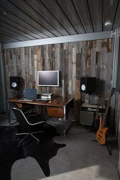 Home Recording Studio Setup-ceiling and wood wall