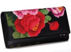 Genuine Leather Floral Print Tri-fold Long Purse With Zipper Wallet For Women