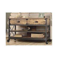 "Wood Sofa Table TV Black Metal Rustic Flat Pine Vintage Industrial Country 52"" #Country"