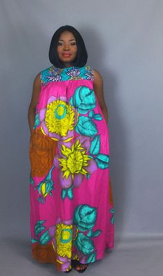 Rose floral impression maxi robe africaine robes jupes