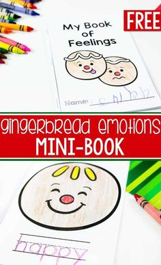 Teach your kids about emotions using this free printable emotions mini book for a fun emotions writing activity. Learn to identify emotions with your preschoolers. Your kids will love this fun gingerbread emotion mini-book! Emotions Game, Teaching Emotions, Feelings And Emotions, Social Emotional Activities, Emotions Activities, Feelings Preschool, Free Preschool, Kindergarten Activities, Preschool Activities
