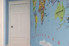 Blue Children's World Map Wallpaper, Maps International World Map Wallpaper, Globes, Geography, Maps, Bedrooms, David, History, Blue, Inspiration