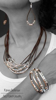 """This is the gorgeous """"Bead Me Up"""" handmade to order leather & silver jewelry set by SeaRanchJewelry. Available in 4 leather colors. Purchase earrings, necklace, bracelet or the whole set! Stunning casual sophistication!"""