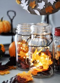 fall decorating craftsDIY Fall Decor: Mason Jar Lanterns Crafts UnleashedAbstract Canvas Art - Master Bedroom IdeasWhen decorating the prop. Fall Mason Jars, Mason Jar Lanterns, Mason Jar Crafts, Candle Jars, Fall Lanterns, Primitive Fall Crafts, Decor Crafts, Diy And Crafts, Decor Diy