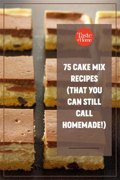 These great cake mix recipes use the store-bought mix as an ingredient, not an end point. Your gorgeous dessert will still be distinctive and delicious—and look nothing like the photo on the box. Cake Mix Recipes, Bar Recipes, Cake Mix Bars, Cupcake Cakes, Cupcakes, Potluck Desserts, Novelty Cakes, Dessert Bars, Let Them Eat Cake
