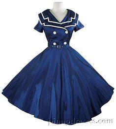 USO Navy Pinup Rockabilly Dress