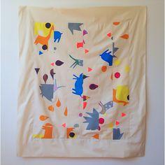 Screen printed quilt, Gemma Patford