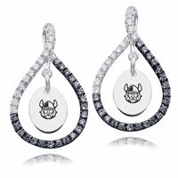 "Our Officially Licensed Figure 8 earring collection features 68 brilliant black and white Cubic Zirconia set in solid sterling silver. The school mark is featured in the center of the earrings as a subtle way to show you spirit in style. Solid Sterling Silver68 Full Cut Round Cubic ZirconiaOfficially Licenseda""the indicia featured on this product are protected trademarks owned by the respective college or university"""