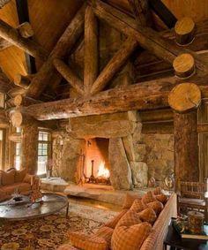 Image detail for -Log Cabin Interior Design . An Extraordinary Rustic Retreat! Cabin Interior Design, Cabin Design, House Design, Interior Ideas, Stone Interior, Cabin Fireplace, Open Fireplace, Fireplace Facing, Log Cabin Homes