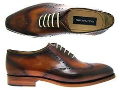 PAUL PARKMAN ® Handmade Leather Shoes For Men - Paul Parkman Men's Brown Hand-Burnished Wingtip Perforated Wholecut Leather Upper With Doubl...
